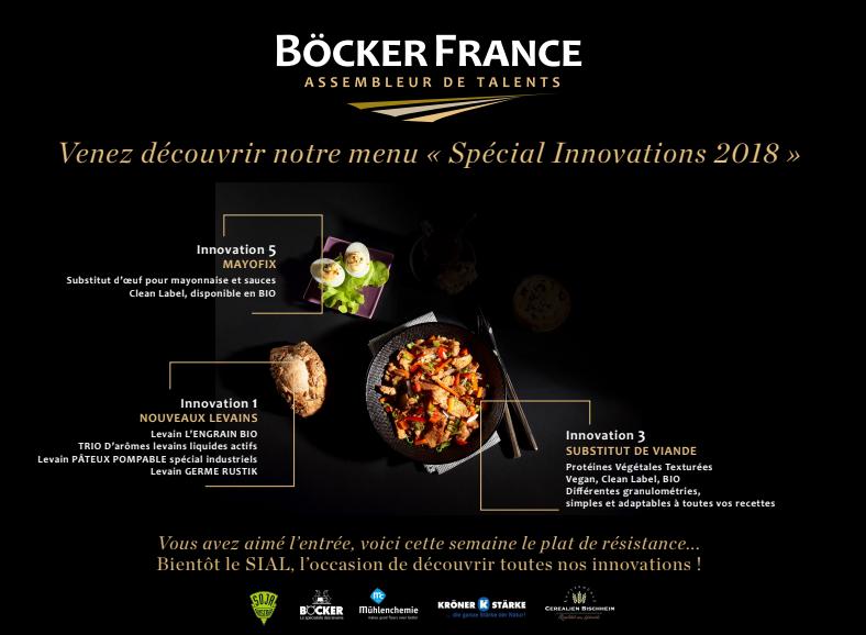 BÖCKER FRANCE SIAL : la suite du menu est avancée